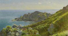 William Trost Richards (American, 1833–1905) - Coastline with grassy slope, oil on board, 21.3 x 40.1 cm.