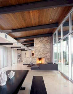 Modern compound in Texas hill country: Trahan Ranch designed.-Modern compound in Texas hill country: Trahan Ranch designed by Patrick Tighe Ar… Modern compound in Texas hill country: Trahan Ranch designed by Patrick Tighe Architecture - House Design, House, Home, Interior Architecture, Modern House, New Homes, House Interior, Wooden Ceilings, Wood Beam Ceiling