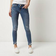 Mid wash Matilda skinny distressed jeans - skinny jeans - jeans - women