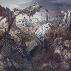 Otto Dix, Der Krieg (Triptychon), Ausschnitt, Mitteltafel, 1929/32, Mischtechnik auf Holz, Galerie Neue Meister, copyright: VG-Bildkunst Bonn, 2014  - Bild öffnet sich in einer Vergrößerungsansicht.