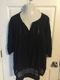 Solitaire 3X black top peasant boho style Cruise Vacation  #Solitaire #Blouse #Casual