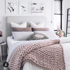 Grey, pink bedroom.