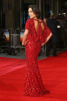 Rosario Dawson brought sexy back at the London premiere for Trance in this smokin red sequin gown with an interesting back cutout.