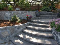 Paver stairs with mortar stone wall