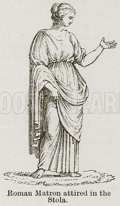 The Roman Stola was similar to the mans toga. It was the symbolic and standard dress for married women.