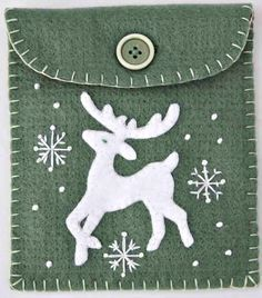 Christmas gift bag Reindeer felt purse Nordic by PuffinPatchwork, $24.00