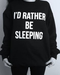 Classic super soft pullover sweatshirt featuring a soft interior and baby rib neckline and hems. By American Apparel 'I'D RATHER BE SLEEPING' Graphic in High Quality White Vinyl 50% Polyester / 50% Cotton Fleece Flex Fleece Construction Wash Cold; Hang Dry Proudly Made in USA See Si...