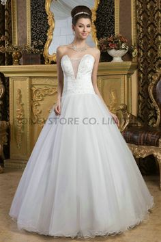 Aliexpress.com : Buy New Arrival Princess Strapless Floor Length Tulle with Beading Wedding Dresses from Reliable bead wedding dress suppliers on HONEYSTORE CO., LIMITED $543.38
