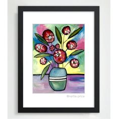 Poppies in a Vase sparkling matted print pink – Nettie Price Sparkling Art