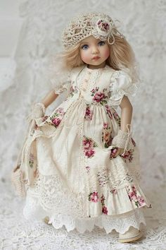 Clothes for Little Darling Outfit for doll Dress with cotton lace Boho multilayer outfit Dianna Effner clothes Rustic style dress with roses Ropa American Girl, American Girl Clothes, Girl Doll Clothes, Girl Dolls, Barbie Dolls, Pretty Dolls, Cute Dolls, Beautiful Dolls, Doll Clothes Patterns