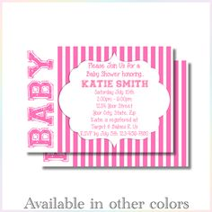 Personalized Printable Invitations | BABY Stripes | Baby Shower