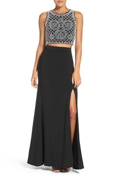 Xscape Beaded Crop Top Two-Piece Gown
