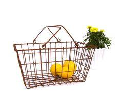 Antique Wire Basket Vintage Metal Market Basket by OceansideCastle, $48.99