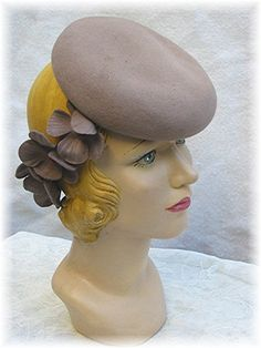 1940s Tilt Hat 40s Taupe w Daisy Band Red Centers by bonitalouise, $85.00