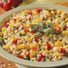 Corn Salad Barley Corn Salad - it was very good for a summer cookout, used lime instead of lemon and I really liked it.Barley Corn Salad - it was very good for a summer cookout, used lime instead of lemon and I really liked it. Corn Salad Recipes, Corn Salads, Barley Salad, Soup And Salad, Vegetarian Recipes, Cooking Recipes, Healthy Recipes, Healthy Salads, Healthy Foods