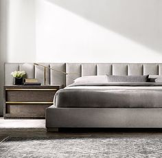 Modena Vertical Channel Extended Headboard Fabric Platform Bed