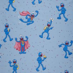 Supercool 100% cotton blue Grover Sesamestreet fabric. €8,95 per meter. www.kidsfabrics.eu