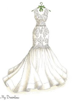 Dreamlines wedding dress sketch given as a wedding day gift to the bride…