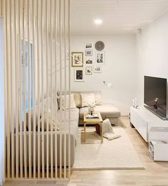 18 Small and Compact Apartment Loft Ideas - Small spaces can be challenging to manage at times, especially when there are not many resources for inspiration—not to mention the lack of interior c. Living Room Partition Design, Living Room Divider, Room Divider Walls, Room Partition Designs, Home Living Room, Living Room Designs, Deco Studio, Home Entrance Decor, Appartement Design