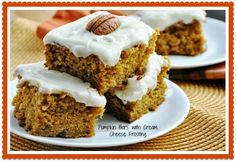 Recipe for pumpkin cake with cream cheese frosting and yummy pumpkin cookies