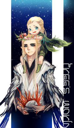 Thranduil and Little Legolas by 丁洱.