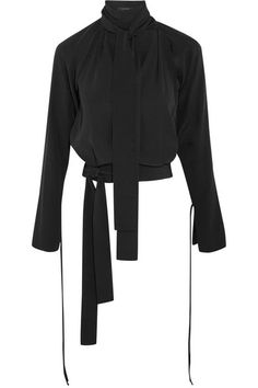 Juan Carlos Obando | Margo open-back black silk-crepe blouse | NET-A-PORTER.COM