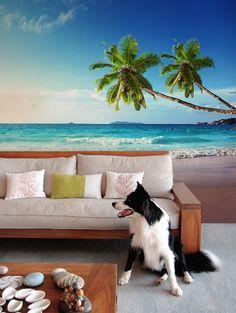 Seychelles Wall Mural by PIXERS Nature Inspired Eye Deceiving Wall Murals to Make Your Home Look Bigger Ocean Mural, Beach Wall Murals, Interior Exterior, Interior Walls, Home Interior Design, Les Seychelles, Photo Mural, Beach Room, Inspiration Wall