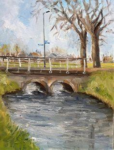 Dutch landscape Bridge and Trees outdoor by NancyvandenBoom, €175.00