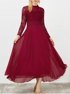 GET $50 NOW | Join RoseGal: Get YOUR $50 NOW!http://www.rosegal.com/maxi-dresses/ruffled-lace-panel-chiffon-long-1109042.html?seid=4514413rg1109042
