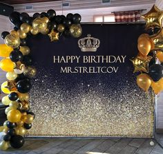No photo description available. Hollywood Birthday Parties, 60th Birthday Party, 50th Party, Gold Party, Sparkle Party, Black Party Decorations, Birthday Party Decorations, Gatsby Themed Party, Birthday Backdrop