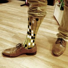 Go game socks with leather oxfords.