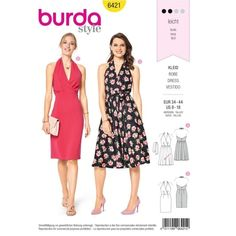 Burda Style Pattern 6421 , Woman's Fitted Halter Dress, Back Zipper, Swing Dress, Sophisticated - Uncut by NeedleandFootSews on Etsy Burda Sewing Patterns, Vogue Patterns, Dress Patterns, Sew Maxi Dresses, Dress Outfits, Fashion Dresses, Robe Swing, Swing Dress, Gown Pattern