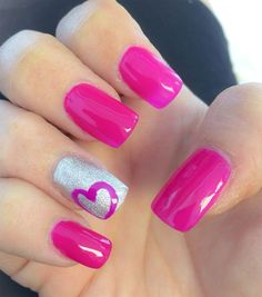 Hot Pink Nail Designs with Hearts http://miascollection.com