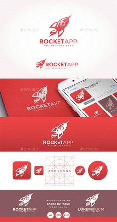 Rocket App Logo — Transparent PNG #red #social • Available here → https://graphicriver.net/item/rocket-app-logo/15205267?ref=pxcr