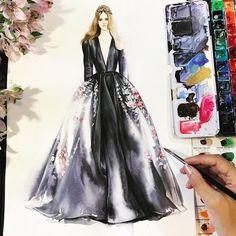 Black #dress #drawing with #aquarelle  #fashiondesign #illustration #artwork #sketches