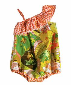 Another great find on #zulily! Green Floral Asymmetrical Bubble Bodysuit - Infant #zulilyfinds