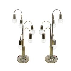Pair of waterfall chrome table lamps A pair of Waterfall chrome table lamps by Robert Sonneman for Laurel Lamp.