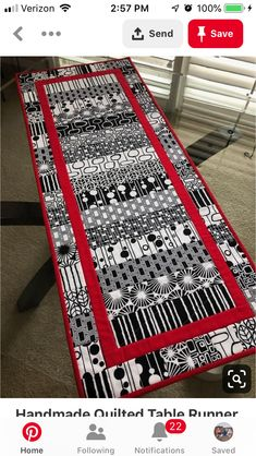 Handmade Quilted Table Runner, Black and White Runner, Modern Table Decor, 16 x 40 Patchwork Table Runner, Table Runner And Placemats, Table Runner Pattern, Quilted Table Runners, White Placemats, Modern Placemats, Modern Table Runners, White Runners, Halloween Table Runners