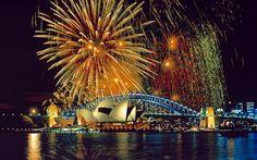 Fireworks AtThe Sydney Opera House And Harbor Bridge