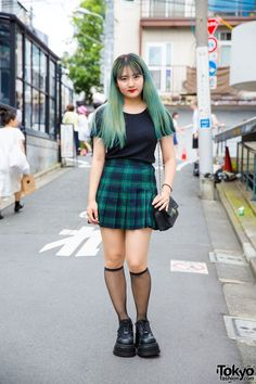 Meet this 19-year-old green-haired Harajuku Girl named Aya in Pleated Plaid Skirt, Never Mind The XU & Chanel.