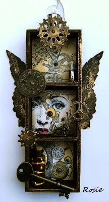 Rosies Bastelwelt: Alter it. Essence of Personality and aesthetic. Shadow Box Kunst, Shadow Box Art, Steampunk Kunst, Steampunk House, Altered Boxes, Altered Art, Mixed Media Canvas, Mixed Media Art, Explosion Box