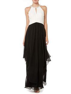 Monochrome halter gown