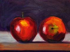 Still Life Fruit Painting, Oreginal Apple Art, Small 6x8 Gallery Canvas, Original Kitchen Decor, Kitchen Art, Wall Art, Home Decor