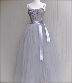 Full length silver grey tulle skirt. Dove grey tulle lined with silver bridal satin for women. Weddings and formal wear.. $345.00, via Etsy.