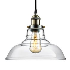 Arvidsson Vintage Hanging Lamp INDUSTRIAL Pendant Light CLEAN Clear Glass Shade 100 Brass Brushed Antique Socket Pretty Cool Fabric Cord SIMPLE Dining Room Light UL Standard ETL Qualified >>> Read more reviews of the product by visiting the link on the image.