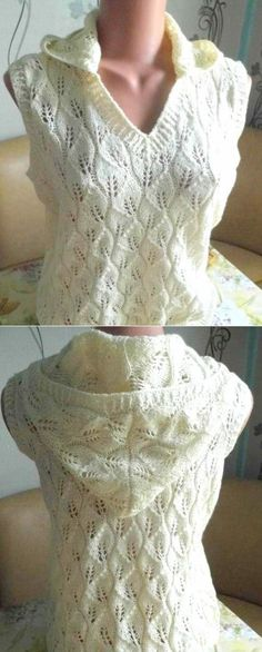 Vest with a hood Pattern Leaves Crochet Coat, Crochet Baby, Knitting Patterns, Crochet Patterns, Hood Pattern, Crochet Abbreviations, Crochet Shorts, Knitting Stitches, Vintage Lace
