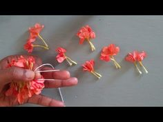 Different method to tie flowers/How to string flowers using less amount of thread/ Flower veni Flower Garland Wedding, Flower Garlands, Flower Decorations, How To Make Garland, Diy Garland, Garland Making, Paper Flowers Craft, Flower Crafts, Hobbies And Crafts