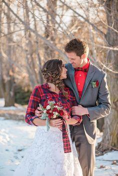 Red, Gold & Plaid Rustic Winter Wedding Inspiration Photographer: Shanda Lynn Call Photography