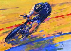 Painting le tour by rob ijbema my bike life. - bicycle p Vintage Bicycle Art, Sports Painting, Bike Illustration, Bicycle Painting, Bicycle Print, A Level Art, Cycling Art, Bike Art, Sports Art