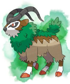 Gogoat, Gogoat is so large that people are able to ride on its back. It's very calm, and can form a strong bond with its Trainer's feelings when its Trainer grabs onto its horns.